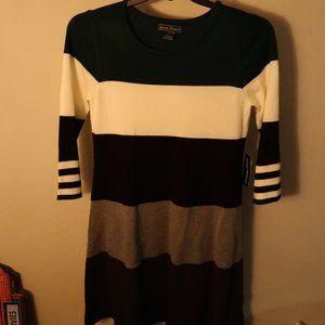 Medium Wide Strip Sweater Dress Deep Emerald